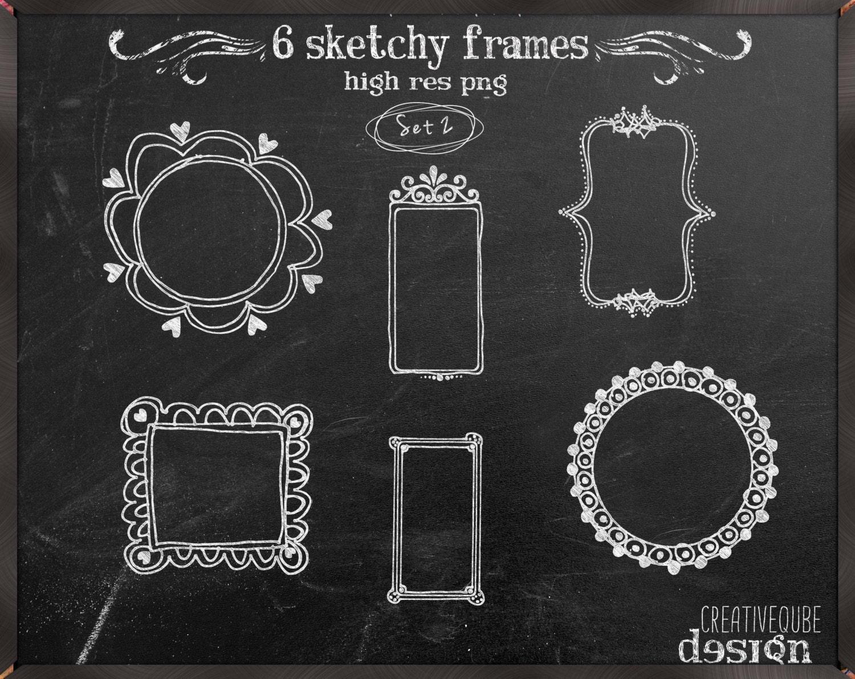 Frames clipart: Chalkboard hand drawn frames pack for