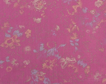 Cotton Blend Fabric, Vintage Floral Fabric, Cotton Floral Fabric, Fuchsia Fabric, Lightweight Fabric by the Yard - 1 Yard - CFL1541