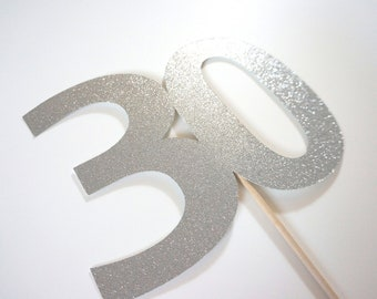 Photo Booth Props - GLITTERY 30 on a stick  -  You Choose Color - 30th Birthday, 30th Anniversary - GLITTER Photobooth Prop