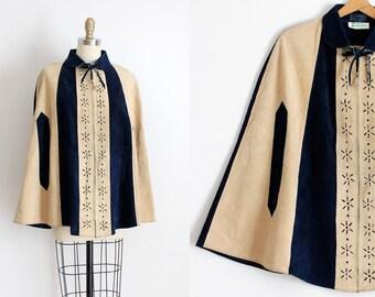 vintage 1960s cape // 60s suede leather mod cape