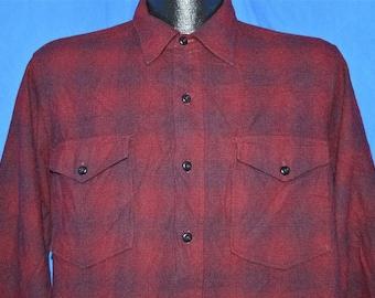 50s Pendleton Plaid Button Down Wool Ranch shirt Large