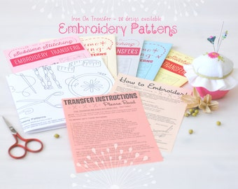 Embroidery Patterns - Iron On Patterns - DIY Embroidery Patterns - Hand Stitching Patterns - Sublime Embroidery Patterns - DIY Patterns