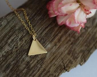 vintage brass triangle necklace | geometric necklace | minimalist triangle necklace | layering necklace | dainty gold charm necklace | boho