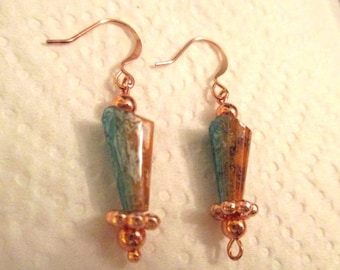 Copper Turquoise and Orange Beaded Earrings