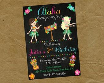 Girls LUAU Birthday Party Invitation  - Digital Personalized File to Print  Pool Beach Tiki Luau Hula