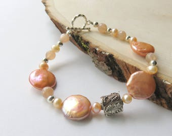 Coin Pearl Bracelet, Peach Moonstone and Pearl, Apricot Nautical Freshwater Pearl Jewelry, Sterling Silver Toggle Clasp, Destination Wedding