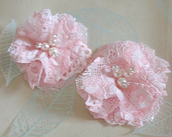2 Lace Flowers With Rhinestone Pearl (2-3/4 inches) In Pearl Pink  MY-424-04 Ready To Ship