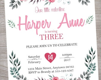 Pink Chic Floral Valentine Baby shower Birthday Party invitation printable