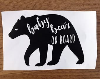 Baby bear on board car decal - baby on board car decal