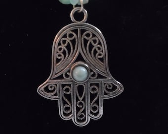Jasper and Aventurine Necklace with Hamsa Pendant