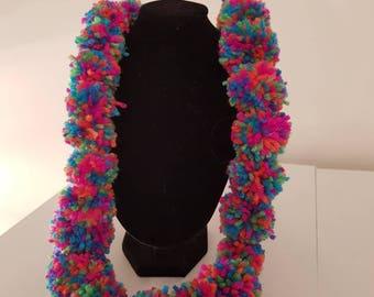36 cm drop handmade multi-coloured Pom Pom garland style necklace