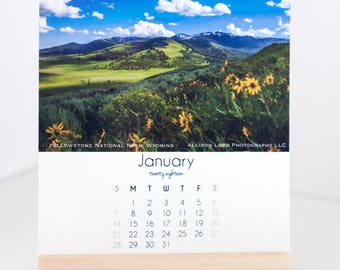 2018 Landscape Photography Desk Calendar with Wood Stand / office decor, monthly travel calendar, coworker gift, easel