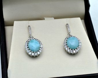 Larimar Stunning 10X8 Oval Earrings, w White Sapphire Accents .925 Sterling Silver