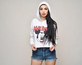 Mickey Mouse blanc à capuche chemise à manches longues