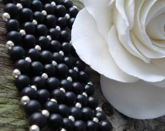 Twilight Flower Weave - Large Alternative Cuff Bracelet - Black Obsidian in Sterling Silver - Handmade by DORANA