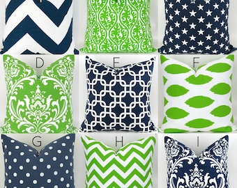 "Navy & Green Throw Pillow Cover  -18x18""- Mix/Match patterns Lime green cushion, navy blue pillow, cushion cover go seahawks Premier Prints"