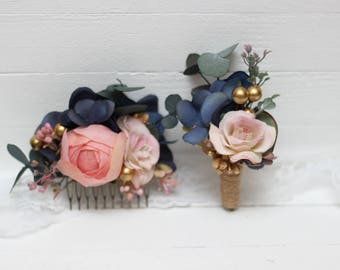 Navy blue rose gold flower accessories Floral comb Wedding hairpiece Boutonniere Bridal headpiece  Bridesmaid Outdoor Buttonhole Flower girl