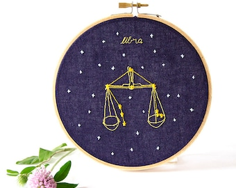 Libra (September 23 - October 22) zodiac embroidery