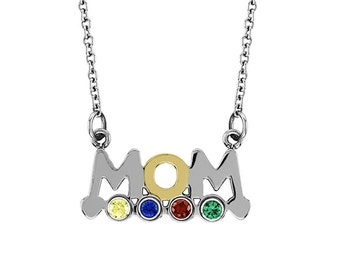 Mom Pendant With Four Personalized Birthstones In Stainless Steel