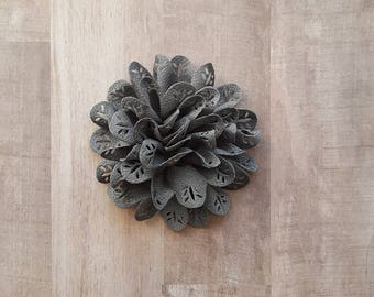 "4"" Gray Eyelet Flower, large Grey flower puff, Charcoal fabric flower, Eyelet flower, DIY supplies, Headband flower, Flower Hair Clip"