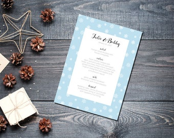 Winter Snowflake Menu Wedding Party Romantic Christmas Powder Blue New Years Eve- Small Snowflakes