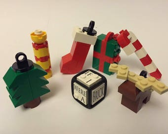 Christmas tree decorations made with LEGO® bricks!