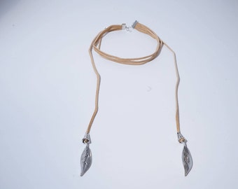 Three Strand Tan Suede Choker with Feather Accents