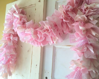PInk Fabric Garland. PInk Birthday Party Decoration 6-10 foot fabric Banner, Backdrop for Party or Baby Shower Decor
