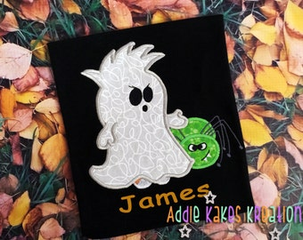 Personalized Boy Ghost with Mohawk and Spider Halloween Kids Shirt