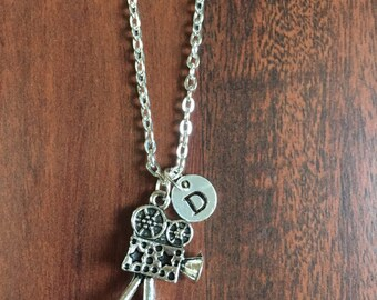 Movie reel Initial necklace, Film camera chain, Movie theme, Film theme, Gift for Movie Lovers, gift for directors, CP91