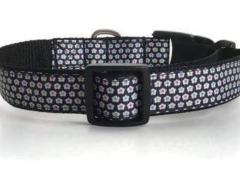 Dog collar, navy Dog collar, floral dog collar, Dog collar, dog accessory, Pet accessory, Girl dog collar, Girl dog, dog collar girl, pink