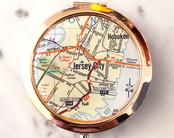 Jersey City Mirror Compact - Rose Gold - Compact Mirror - Makeup Mirror - Purse Mirror - Bridesmaid Gift - Bridesmaid Proposal