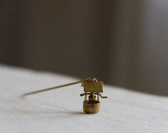 wishing well vintage tiny movable pendant, back to childhood brooch in brass
