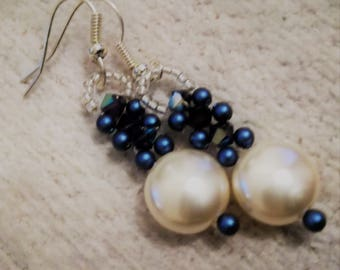 Coin Pearl,crystal,  dangle earrings