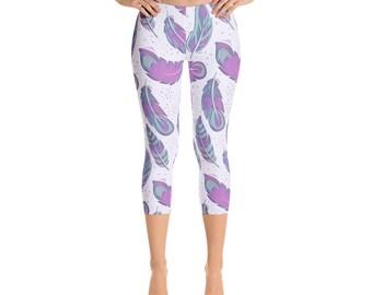 Feather Leggings - Colorful Bohemian Leggings - Gypsy Leggings - Boho Chic Capri Leggings