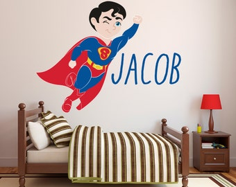 Superman Wall Decal   Personalized Name Wall Decal   Super Boy Wall Art   Superhero  Wall Decal   Kids Decor   Custom Vinyl Wall Decal