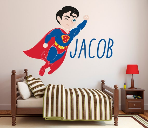 Captivating Superman Wall Decal Personalized Name Wall Decal Super Boy