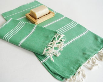 SALE 50 OFF/ Head and Hand Towel / Classic Style / SET / 2 Towels / Green - White striped