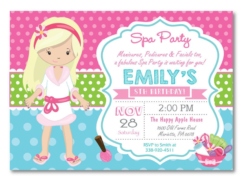 Spa Party Invitation. Spa Birthday Party Invitation. Pajama