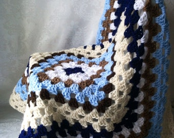 Crochet Granny Square Baby Blanket, Crochet Baby Blanket, Baby Blanket for Boys, Granny Square, Tan and Blue Blanket