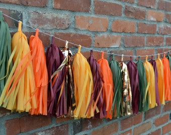 Fall Tissue Tassel Garland - Fall Harvest decorations
