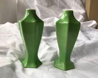 Vintage Miniature Bavaria Green Ceramic Vases