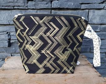 Project Bag | Knitting Bag | Knitting Project Bag | Zippered Project Bag | Wedge Bag | Shawl Knitting Bag | Gold Glitter