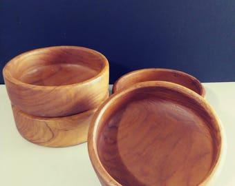 Teak Wood Bowl Set Vintage Wood Bowls Unique Housewarming Gift Wedding Gift Goodwood Teak Bowls Rustic Kitchen Salad Bowl Set Free Shipping