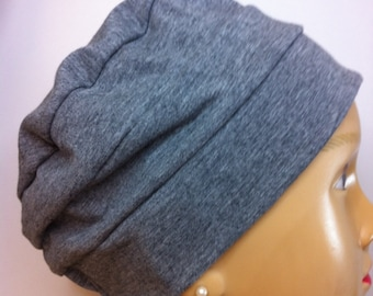 100% Cotton Adult Gray Jersey Knit Hat