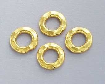4 of 24k Gold Vermeil Style Hammered Jump Rings 8 mm. :vm0046
