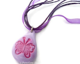 Butterfly Necklace, Butterfly Pendant, Gift-For-Girl, Gift For Daughter, Pendant Pink Butterfly, Necklace Boho Pink, Pink Butterfly Gift