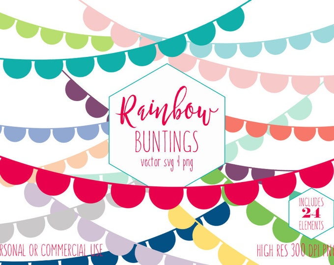 BUNTING BANNER CLIPART for Commercial Use Planner Sticker Clip Art Half Circle Flag Banners Birthday Party Kids Digital Vector Graphics Svg