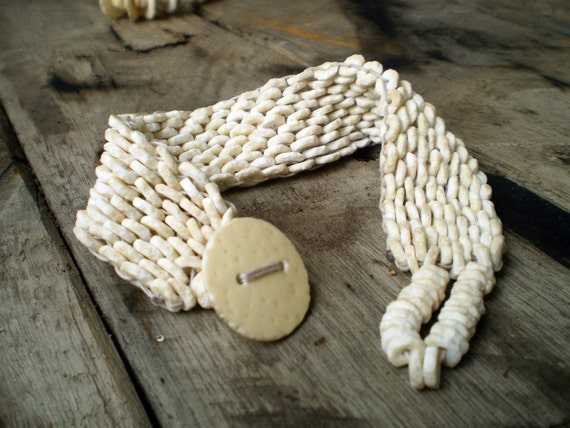 Broad Handcrafted Ovahimba Ostrich Shell Beads Bangle