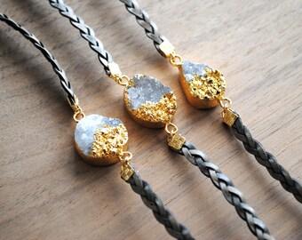 Leather Druzy Bracelet, Braided Leather Bracelet, Druzy Cuff Bracelet, Druzy Wrap Bracelet